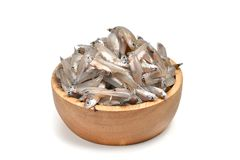 Raw anchovies. On white background Royalty Free Stock Photos