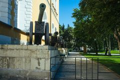 Russian Motherland -The Kremlin Armory. A raw of ancient guns from the Kremlin Armory Royalty Free Stock Photo