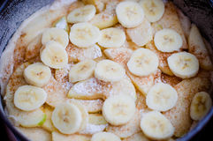 Raw apple banana pie. With icing sugar and cinnamon Stock Photography