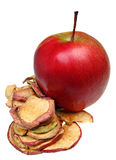 Raw apple slices and dried apples. Isolated Stock Photos