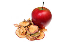 Raw apple slices and dried apples. Isolated Royalty Free Stock Image