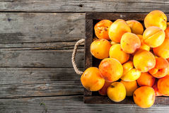 Raw apricots in wooden box. Summer fruits. Fresh raw organic farm apricots in a wooden box, a tray, on an old wooden rustic table. Copy space top view Stock Photo