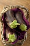 Raw aubergines Stock Photos