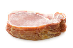 Raw back bacon slices isolated on white Royalty Free Stock Image