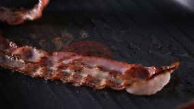 Raw Bacon Frying On Grill Pan. Close Up View Of Raw Bacon Frying On Grill Pan stock video