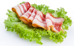 Raw bacon isolated on a white Royalty Free Stock Image