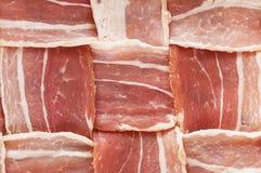 Raw Bacon Lattice. Raw bacon woven lattice background texture stock image