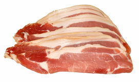 Raw Bacon Rashers Isolated On White Stock Image