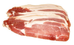 Raw Bacon Rashers Isolated On White Royalty Free Stock Images