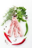 Raw bacon ribs with rosemary Stock Photos