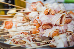 Raw bacon skewer Stock Photo