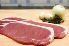 Raw bacon steaks Royalty Free Stock Image