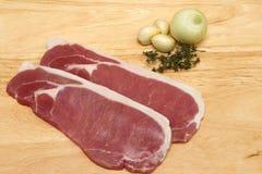 Raw bacon steaks Royalty Free Stock Photo