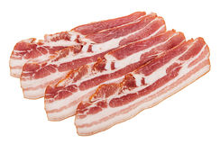 Raw bacon on white background Royalty Free Stock Photography