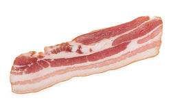 Raw bacon on white background Royalty Free Stock Photo