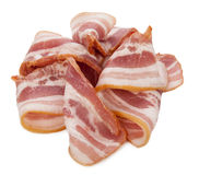 Raw bacon on white background Royalty Free Stock Image