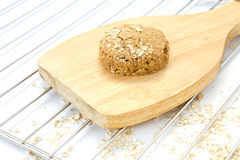 Raw ball of dough on wooden board. On white background Stock Images