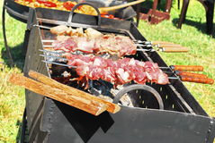 Raw barbeque meat on fire. Food. Meat on fire.Bbq ready to cook Stock Image