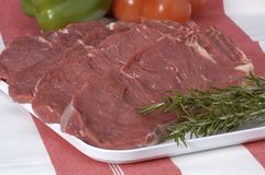 Raw beef. On platter ready to be cooked royalty free stock photo