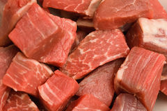 Raw beef. Closeup of raw beef tenderloin cubes Royalty Free Stock Images