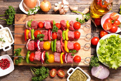 Raw beef,barbecue. Meal on board Royalty Free Stock Photos