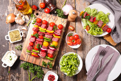 Raw beef,barbecue meal Royalty Free Stock Photos