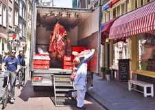 Raw beef, butchery transport Royalty Free Stock Image