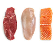 Raw Beef Chicken and Fish Isolated Top View Stock Photography
