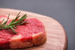 Raw beef cooking with ingredients. Top view with copy space.  Stock Photography