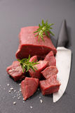 Raw beef cube Stock Image