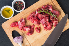 Raw beef cubes Royalty Free Stock Photos