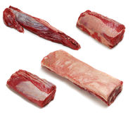 Raw beef cuts. Different cuts of raw meat on white background Royalty Free Stock Photo