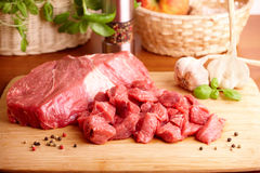 Raw beef on cutting board Stock Photography