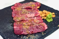 Raw beef ferment. Aging beef, Raw beef slice meat with fermented ready for cook, Raw beef ferment Stock Photo