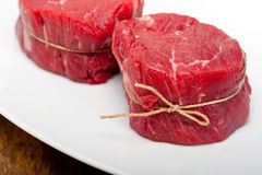 Raw beef filet mignon. Fresh raw beef filet mignon cut ready to cook Royalty Free Stock Photos
