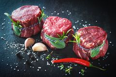 Raw beef fillet steaks mignon on dark background. Raw beef fillet steaks mignon with spices on dark background Royalty Free Stock Photography