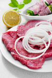 Raw beef fillets and chicken meat skewers Stock Photography