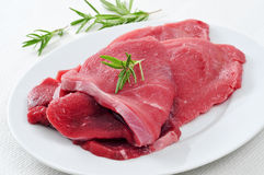 Raw beef fillets. Closeup of some raw beef fillets on a plate on a table Stock Image
