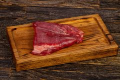 Raw beef Flank steak. Black Angus royalty free stock photo