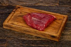 Raw beef Flank steak. Black Angus royalty free stock photos