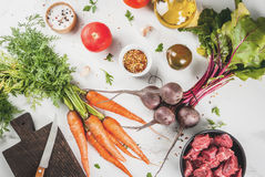 Raw beef goulash with spices and vegetables Stock Photography