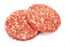 Raw beef hamburger meat on white background Royalty Free Stock Photos
