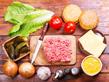 Raw beef  for hamburger with vegetables Stock Image