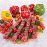 Raw beef kebab Royalty Free Stock Image