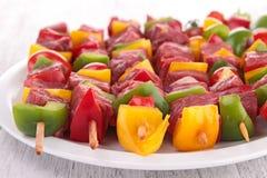 Raw beef kebab Royalty Free Stock Images
