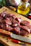 Raw beef liver with spices, herbs  and vegetables Royalty Free Stock Photo