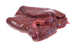 Raw beef liver on white background Royalty Free Stock Photos