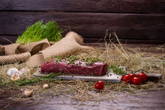 Raw beef marinated in spices on cutting board. Raw beef marinated in spices. Meat with tomatoes and garlic on the rural hay Stock Photos