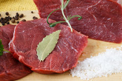 Raw beef meat on a cutting board. Raw beef meat and salt on a cutting board Stock Images