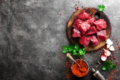 Raw beef meat. Fresh sliced beef sirloin. On board stock photos